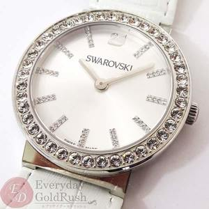 SWAROVSKI Swarovski 1185826 Ladies' Watch White Quartz Crystal Bezel Leather Belt Battery Replacement