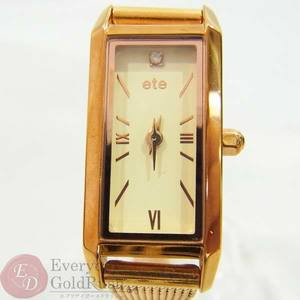 ete Ette Rectangle face Mele diamond 0.006ct Ladies Quartz watch operation confirmed