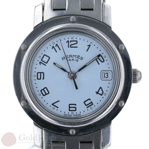 HERMES Clipper CL4.210 Ice Blue Silver Ladies Watch Quartz
