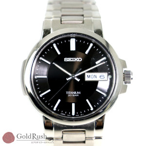 Seiko SEIKO TITANIUM 20 BAR Titanium 7N43-7B80 Quartz Black Dial Three-needle Men's Watch