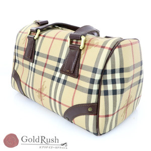 Burberry Check Beige PVC × Leather Mini Boston Bag Women