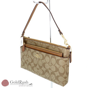 COACH Signature PVC Coated Canvas Pouch F65806 Handbag Women