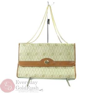 CHRISTIAN DIOR Dior Beige × Brown Logo Pattern Vintage Chain Handbag Women