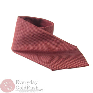LOUIS VUITTON Tie Red 100% Silk Men's Business Logo