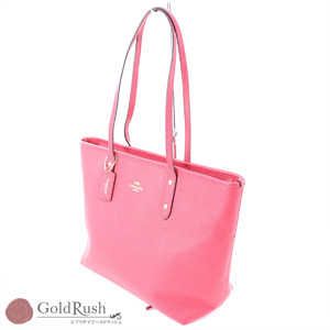 COACH Vivid Pink Leather Tote Bag Women's F57522 Outlet