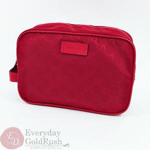 GUCCI second bag handbag clutch pouch GG pattern nylon × leather 510338
