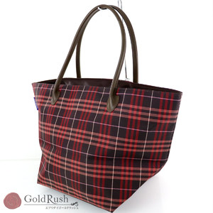 Burberry BURBERRY Red Nylon Leather Nova Check Tote Bag Women