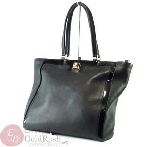 FURLA Furla Black Patent Leather Tote Bag Ladies Popular