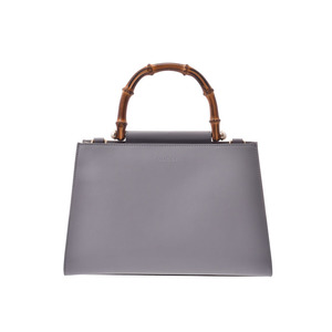 Gucci Bamboo Nim Fair 2 WAY Handbag Gray / White Ladies Leather