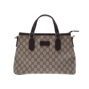 e4f80b1fa Gucci GG Supreme 2 WAY Tote Bag Gray / Dark Brown Ladies PVC New Docome  GUCCI
