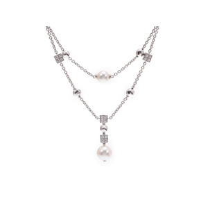 BVLGARI Lucia Necklace Ladies WG Diamond Pearl 20.4g A rank good item used Ginzo