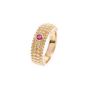 Yves Saint Laurent Ring # 15.5 Ladies YG Ruby 0.18ct 9.8g A rank Fine item Saint-Laurent Used Ginzo