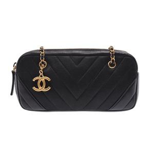 シャネル(Chanel) シャネル Vライン ミニチェーンショルダーバッグ 黒 G金具 レディース カーフ ABランク CHANEL ギャラ 中古 銀蔵