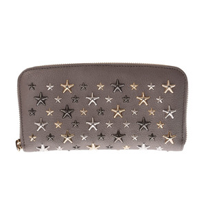 Jimmy Choo Philippe Round Zip Long Wallet Star Studs Gray Women's Men's Calf