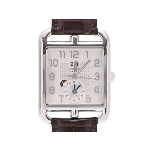 Hermes Cape Cote Dual Big Date Silver Dial CD6.910 Men's SS / Leather Self-winding Watch A Rank Beauty Product HERMES Box Gallery Used Ginzo