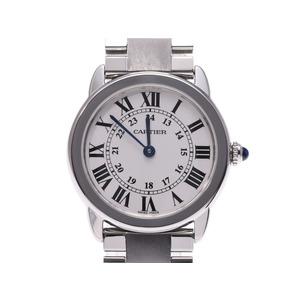 カルティエ ロンドソロ シルバー文字盤 W67001004 レディース SS クオーツ 腕時計 Aランク 美品 CARTIER 箱 ギャラ 中古 銀蔵