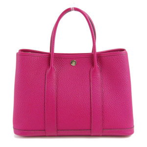 HERMES Hermes Vash Country Garden Party Hand Tote Bag Rose Purple Leather