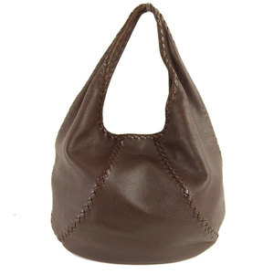 Genuine Bottega Veneta Intres Leather One Shoulder Tote Bag Brown 212741