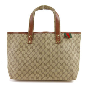 Genuine Gucci PVC GG Tote Bag Brown Beige 211134 Leather
