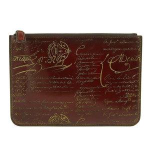 Genuine Berluti Berlutti Calligraphic Clutch Bag Brown Leather