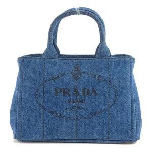 Genuine PRADA Prada Denim Kanapa 2WAY Hand Shoulder Tote Bag Model: 1BG439 Leather