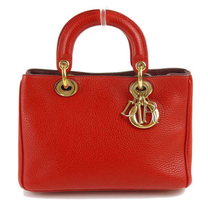 Genuine Christian Dior Lady 2WAY Hand Shoulder Bag Red Leather