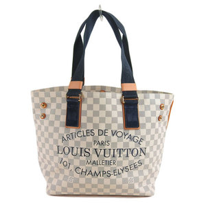 Genuine LOUIS VUITTON Louis Vuitton Damier Azur Plan Soleil Hippo PM Tote Bag Leather