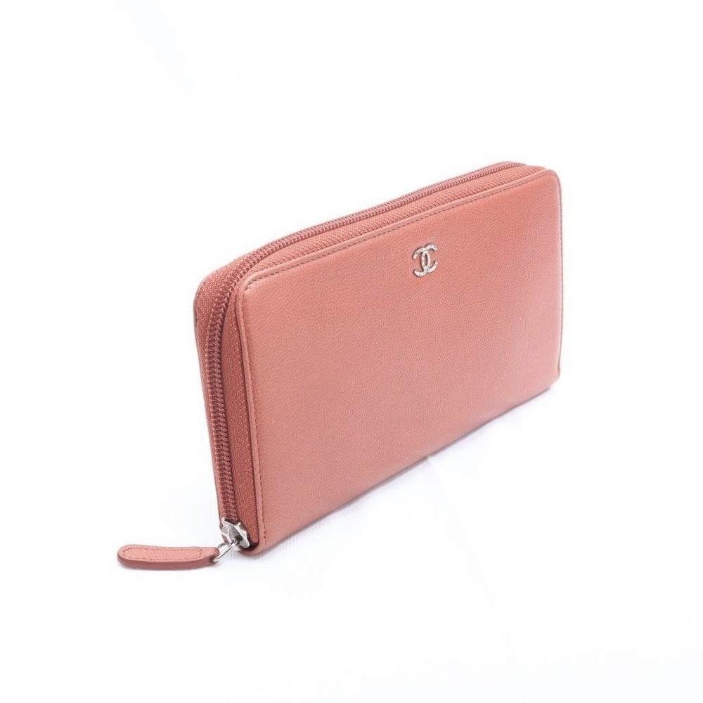 シャネル(Chanel) アイコン 長財布 レディース  キャビアスキン 財布 ブラウン