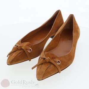 GUCCI Women's Pumps Suede Ponted Toe Camel Flat Petanko 35C 22.5cm