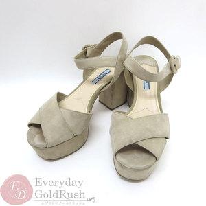 PRADA sandals mule goat leather suede beige 38 women