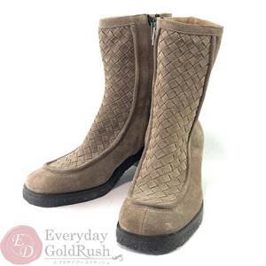 BOTTEGA VENETA Women's Suede Ankle Boots Beige Intrecciato 22.5cm 35C