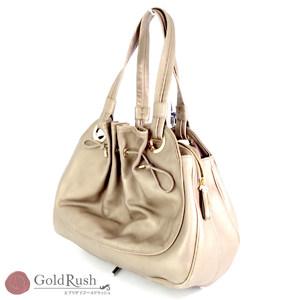 BVLGARI Bulgari Leather handbag Brown metallic color women's bag with storage