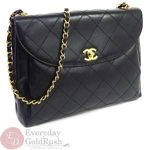 シャネル(Chanel) CHANEL チェーンショルダーバッグ 黒 A13383 カーフ 黒×金 マトラッセ カード シール有 レディース