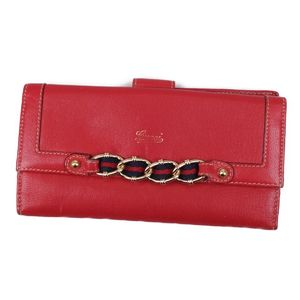 45bddb61345063 Gucci GUCCI Leather W Hook Sherry Line Long Wallet Made in Italy Ladies Red  Wallets