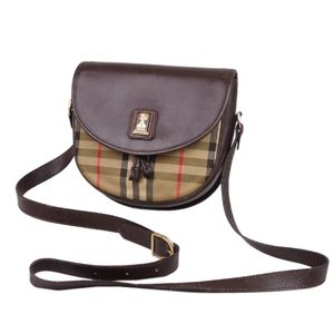 Burberry Burberrys Horse Ferry Check Shoulder Bag Canvas Leather Beige Brown Vintage