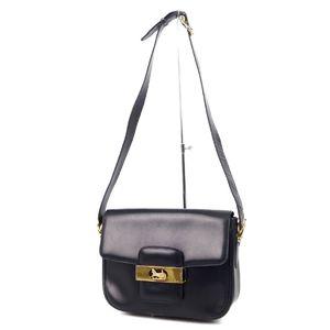 14efac725cb1b5 Celine CELINE Carriage leather shoulder bag calf navy gold ladies made in  Italy vintage