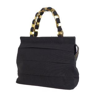Salvatore Ferragamo Vala Chain Handbag Grosgrain × Leather Black Gold Women's Bag Made in Italy