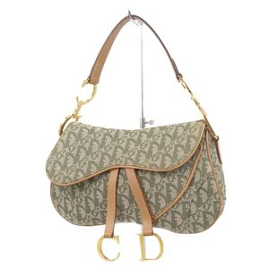 Christian Dior Christian Made in Italy Trotter Saddle Bag Logo Bracket Green Light Brown Gold Women's Semi Shoulder