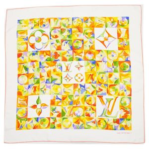 Louis Vuitton LOUIS VUITTON Monogram Silk Scarf Made in Italy Ladies Ivory Orange