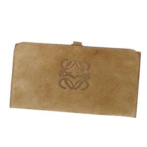Loewe LOEWE Anagram Suede Leather Tri-Fold Wallet Women's Spanish Long Beige Brown based