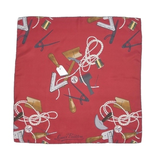 Louis Vuitton LOUIS VUITTON Italian Ladies 100% Silk Scarf Domestic Genuine Red