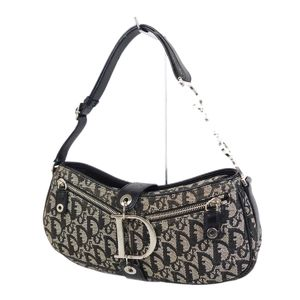 Christian Dior Christian Trotter Pattern Canvas Leather Semi-Shoulder Bag Navy Ladies Italian Made Vintage