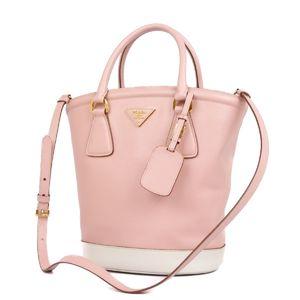 Prada PRADA Safiano Leather 2way handbag Shoulder bag Pink White Ladies Italian bucket-shaped tote