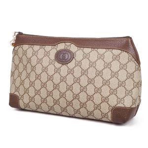 a17884a711252d Old Gucci GUCCI 80's GG Pattern PVC Leather Clutch Bag Second Italian Made  Beige Brown Vintage