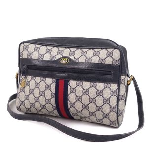 77cc81ab8c64 Old Gucci GUCCI Accessories Collection Sherry line GG Pattern Shoulder bag  Navy 紺 Ladies Italian vintage
