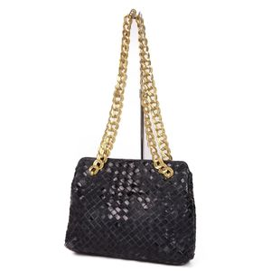 Bottega Veneta BOTTEGA VENETA Intrecherto patent leather chain semi-shoulder bag Made in Italy Black Gold Enamel Women's