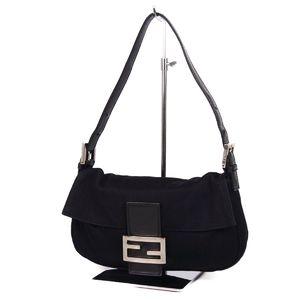 Fendi FENDI Made in Italy Ladies Jersey Material Mamma bucket Shoulder bag Black Bag 鞄