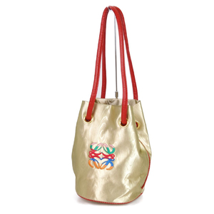 Loewe LOEWE Made in Italy Women's Anagram Shoulder Bag Nylon Leather Gold Red 鞄