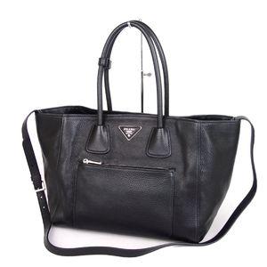 Prada PRADA Vittero Phoenix Leather 2way Handbag Tote Bag Black Ladies