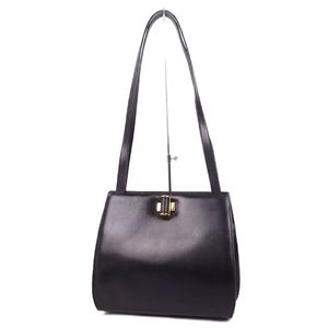 Salvatore Ferragamo Ladies Leather Turnlock Semi Shoulder Bag Black Made in Italy